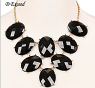 D exceed  Fashion European Lady Banquet Black Acrylic Gem Choker Necklace Pendant Statement Necklace Free Shipping