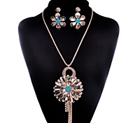 May Polly Fashion simple Korean Gem Necklace Earrings Set