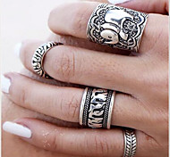 Ring Daily / Casual Jewelry Alloy Women Statement Rings 4pcs,One Size Silver
