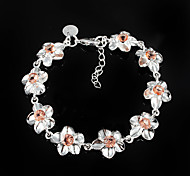 Fashion Big Flower Silver Plated CZ Stone Party Chain & Link Bracelets For Woman&Lady