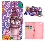 pink flower big ben Muster PU-Leder Ganzkörper-Abdeckung mit Standplatz für iPhone 5 / iphone 5s