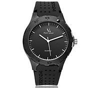 Men's Fashion Black Rubber Strap Quartz Casual Watch