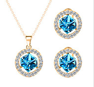 Hot 5 Colors Zircon Cube Pendant Necklace Stud Earring Jewelry Set
