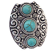 Vintage Look Antique Silver Natural Turquoise Stone Adjustable Free Size Ring(1PC)