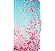 Red Leaves in Clear Blue Skies Pattern PU Leather Full Body Case Cover with Stand for iPhone 6/6s