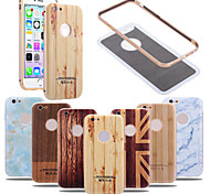 Metal Aluminum Frame + Hard PC 3D Wood Bamboo Marble Grain Painted Back Case For iPhone 6/6S (Assorted Colors)