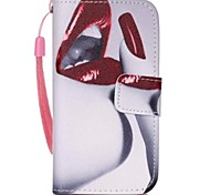 Red Lips Painted PU Phone Case for iphone4/4S