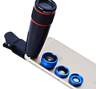 Apexel 4 in 1 12X Telephoto ,Fisheye and Macro Lens & 0.65X Wide Angle Lens for iPhone 4/5/6/6S/6S Plus(Assorted Colors)