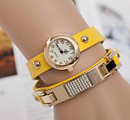 Woman Star Diamond Sequins Leather Strap Wrist Watch