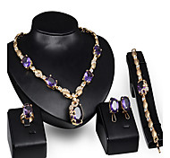 May Polly Fashion Gem Necklace Earrings Ring Bracelet Set Dinner
