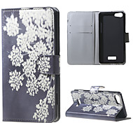 White Flowers Wallet Leather Stand Case for BLU Vivo Selfie