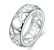 Circular Hollow White Silver-Plated Statement Rings(White)(1Pcs)
