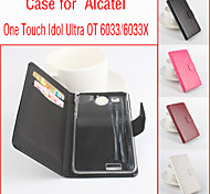 Flip Leather Magnetic Protective Case For Alcatel One Touch Idol Ultra OT 6033/6033X(Assorted Colors)