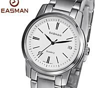 cadran en saphir blanc forme ronde civile en acier inoxydable montre-bracelet à quartz pour hommes easman