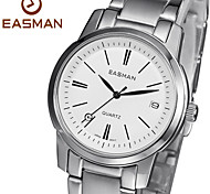 EASMAN Men's White Sapphire Dial Round Shape Stainless Steel Calendar Quartz Wristwatch