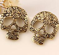 Серьги-гвоздики Сплав Мода В форме черепа Серебряный Золотой Бижутерия Для вечеринок Halloween Повседневные 2 шт.