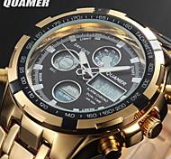 double de luxe le temps montre de sport alarme de l'agenda de l'acier inoxydable le chronomètre des hommes