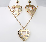 European and American fashion new 5 diamond necklace Heart Earring Sets