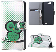 Sleeping Owl on the Branch Magnetic Leather Wallet Handbag Book Cover Case For Flip Huawei ascend G7