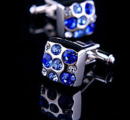 Fashion Men Jewelry Blue CZ Crystal Square Silver Delicate Button Cufflinks