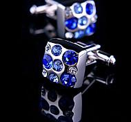 Fashion Men Jewelry Blue CZ Crystal Square Silver Delicate Button Cufflinks