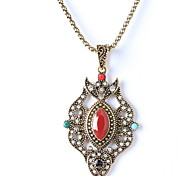 Diamond Pendant Necklace Retro Ruby Jewelry