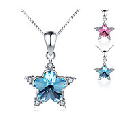 Jazlyn® Platinum Plated 925 Sterling Silver Swaroski Elements Crystal Stars Pendant Box Chain Women's Necklace
