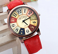 Frauen Armbanduhr 2015 neue Art und weise beiläufige Uhr Unisex Frauen Männer vintage demischen Stoff Lederarmbanduhr Uhren