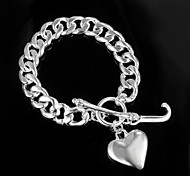 "Fashion Noble ""Heart"" Fine 925 Silver Party Chain & Link Bracelets For Woman&Lady"