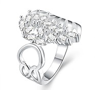 Flower Diamante White Silver-Plated Statement Rings(White)(1Pcs)