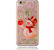 Snowman with Gift Pattern Sparkle Heart Quicksand Liquid PC Hard Phone Case for iPhone 6S/6