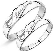 anillo de plata pareja de apertura de alas de ángel (un par de venta) anillos PROMIS para parejas