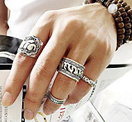 European Style Fashion Punk Retro Carved Elephant Ring Set