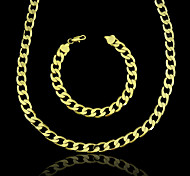 18K Real Gold Plated Figaro Chain Necklace+Beacelet Jewelry Set 10MM Width