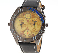 Men Vintage Map Dual Analog Time PU Band Quartz Watch