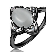 New Fashion Black Ring with Opal