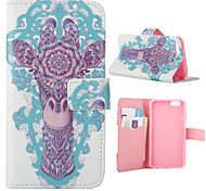 Painted Giraffe Pattern PU Leather Full Body Cover with Stand for iPhone 5/iPhone 5s
