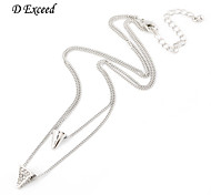 D exceed Women European Silver Plated Two Layer Pyramid Inlaid Crystal Necklace Ladies Charm Accessorise