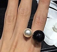 Fashion Black And White Pearl Open Adjustable Ring
