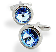 Fashion Copper Men Jewelry Silver Round Light Blue Crystal CZ Delicate Button Cufflinks(1Pair)
