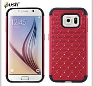bling ster kristal strass diamant case siliconen case met pc case voor Samsung s6 rand (verschillende kleuren)