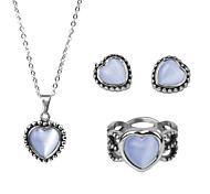 Stainless Steel Woman Jewelry Sets Elegant Heart Pendant Necklace Silver Plated Jewelry Of Silver Set Earring Rings