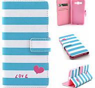 Stripe Pattern PU Material Flip Phone Case for Samsung GALAXY G360/J1/G5308/9082