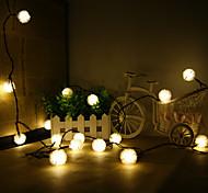 King Ro solar 19.7ft 30LED Christmas Chuzzle Ball Light Outdoor Waterproof String Light