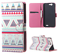 Triangles Pattern Magnetic Leather Wallet Handbag Book Cover Case For Flip Huawei ascend G7
