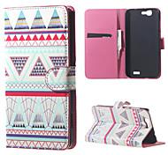 triangles cas motif magnétique portefeuille en cuir de couverture de livre de sac à main pour Huawei Ascend bascule g7