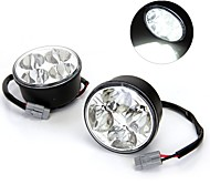 2*4W High Power White 4 LED Car DRL Daytime Daylight Running Fog Light Lamp