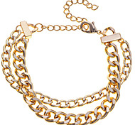 Simple Style Alloy Double Layers Chain Bracelet