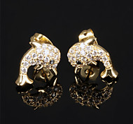 Ms Stainless Steel Not Faded Dolphins Zirconium Drill Earrings