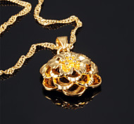 Spiral Flowers Ms Vacuum Plating 18 K Gold Don't Rub Necklace